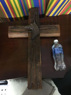 Rustic Wood cross with barbed wire & horse head