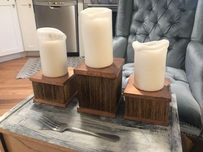 Candles on holders (set of 3)