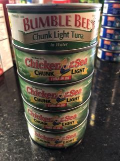 Chicken if the 5 Chicken of the Sea in oil and Bumble Bee chunk light tuna in water- best by 2021
