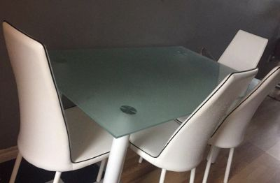 MODERN FROSTED GLASS TABLE *NO CHAIRS