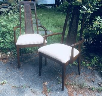 Vintage 1960s Walnut Dining Chairs Pair