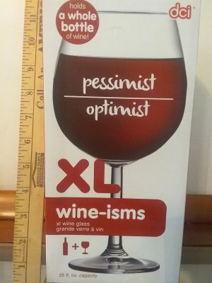 NEW. EXTRA LARGE WINE GLASS/ HOLDS 1 BOTTLE OF WINE.