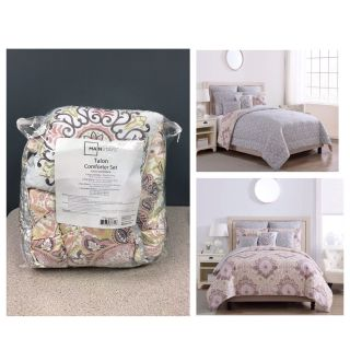Mainstays Multicolor Damask Medallion Talon 8-Piece Bedding Comforter Set, Euro Shams and Decorative Pillows Included (King). (Reversible )