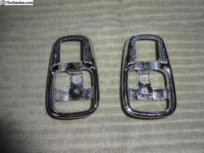 VW Bus Bug Ghia Chrome Door Pull Trim Plate Pair