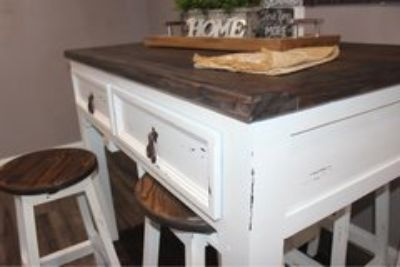 Farm Style White Distressed Kitchen Island