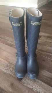 Dark Blue Wind River Lined Rubber Fashion Boots