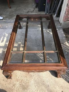 BALL IN CLAW GLASS TOP COFFEE TABLE