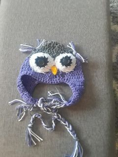 Brand New Crocheted Childs Owl Hat