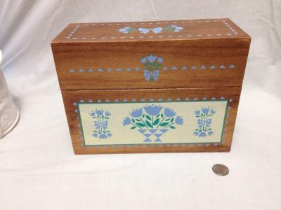 """Wood Recipe Or File Box. 10 x 4 x 7.5"""" tall. Pick up at Target in McCalla on Thursdays 5:15 to 6:00pm."""