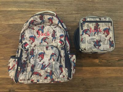 Pottery Barn Kids Spider-Man Comic Large Backpack & Lunchbox!! EUC
