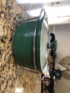Green Covered Dish with Stand