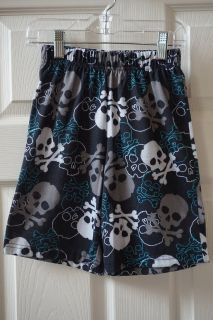 Boys Faded Glory Black/White/Grey/Blue Skull Pajama Shorts Size 6/7