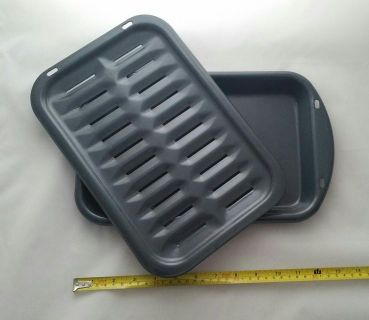 "Broiler Pan Broil Rack 13.5"" x 8.""New Porcelain Enameled Steel Toaster"