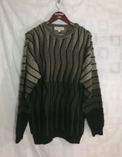 Pronto-Uomo Mens Sweater Size Large Brown Long Sleeve Pull Over Heavy