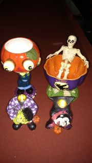 Halloween serving/candy dishes,pair of candlesticks