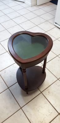 Side table with glass display
