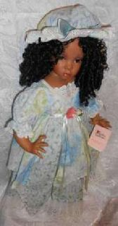 "Handmade Collectible 24"" African American Porcelain Doll by Paradise Galleries"