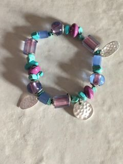 Genuine Turquoise Hammered Silver Disc Beaded Bracelet