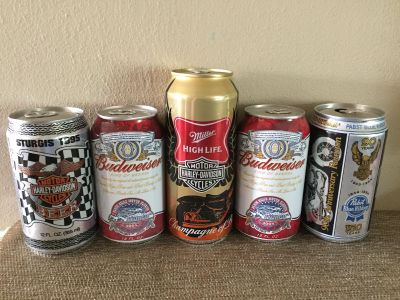 5 COLLECTIBLE HARLEY 0r STURGIS CANS