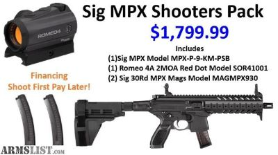 For Sale: Sig MPX 9mm Pistol With Brace, Extra Mags & 1 Romeo 4A 2MOA Red Dot!