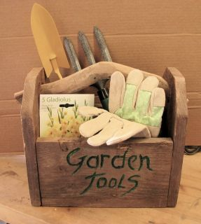 Handmade Garden Tool Box with Garden Tools, Seeds, and Gloves #2