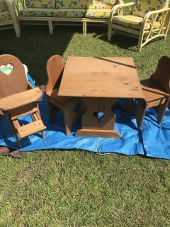 Handmade Children s Table, Chairs & Doll highchair