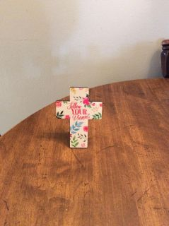 Glass cross with easel back with saying