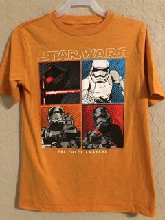 Star Wars The Force Awakens Orange Short Sleeve Shirt. Nice Condition. Size Small