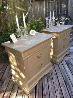ELEGANT CLASSY EXTRA LARGE NIGHTSTANDS .. custom finished in Matt Champagne metallic Romantic look