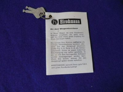 Find NOS Hirschmann Antenna Instruction Booklet with Keys D/C 2/68 Mercedes Posrche motorcycle in North Haven, Connecticut, United States