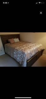 LIKE NEW 7 piece queen bedroom set including mattress and box spring