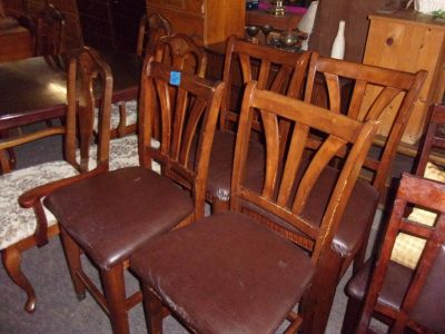 Set of Four Bar Style Chairs With Padded Seat