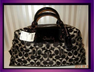 $195 Coach Ashley Signature Sateen LARGE! Satchel Black white. New with tags and cert