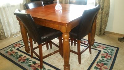 Bar height Butterfly leaf table & 4 chairs