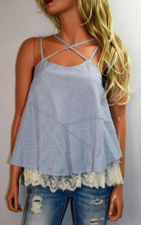 NWOT UMGEE USA Lace Trimmed Baby Doll Pinstriped Top