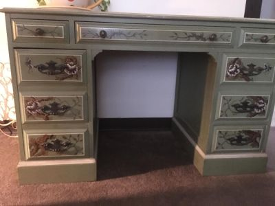 Old traditional Early American desk w/hand-painted magnolia mural