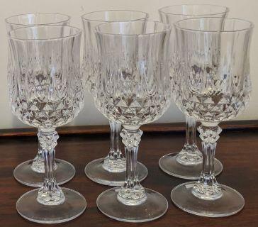 Vintage Crystal Set Of Six (6) Wine/Water Glasses