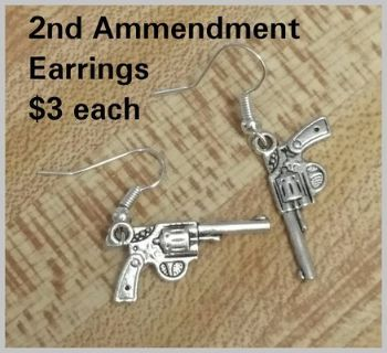 2nd Ammendment Earrings HANDMADE BY ME