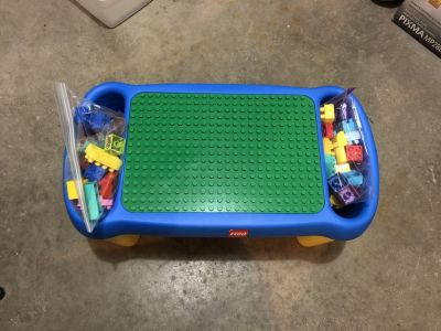 Vintage LEGO table with Legos