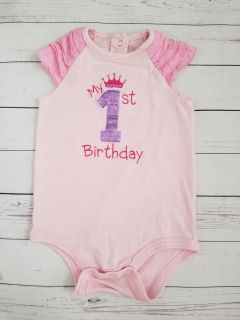 My first birthday baby infant girl onesie top party princess crown outfit