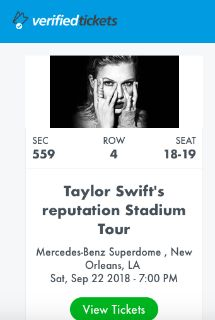 Taylor Swift Reputation Tour - 2 Tickets - New Orleans