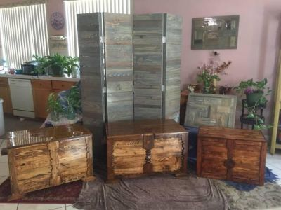 3 beautiful chests + room divider all solid wood and hand crafted
