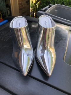 Silver booties size 7.5 brand new