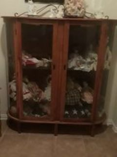 antique hutch with glass door and locks