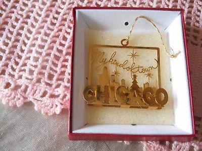 "CHICAGO "" MY KIND OF TOWN"" Gold Plated Ornament!"