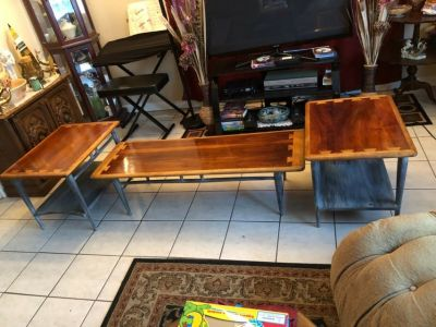 vintage 3-pc set mid-century lane coffee & end tables