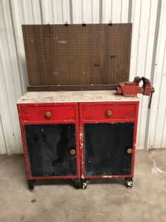 Antique Vintage Tool Chest Work Bench attached vice - can be separated into two mid century lockers cabinets $100