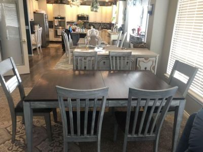 Newly refinished dining room table and chairs