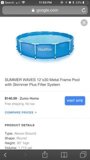 Summer wave 15*15 pool only 3 months old so in like new condition comes with net , chemical floating device, and pool cover