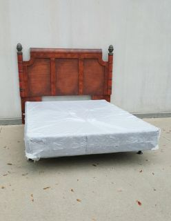 Queen Size Headboard, Frame and Bottom Box Foundation